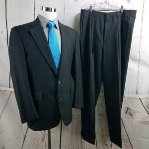 Joseph & Feiss 41R 2 Button Gray Striped 2pc Suit